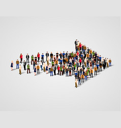 large group of people crowded in arrow symbol way vector image vector image