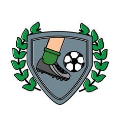 leg foot kicking soccer ball inside shield emblem vector image vector image