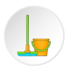 Orange bucket with mop icon cartoon style vector