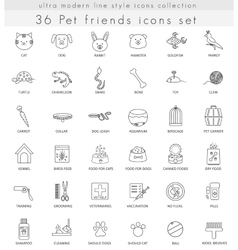 Pet ultra modern outline line icons for web vector