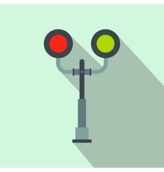 Railway crossing light flat icon vector
