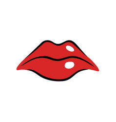 Sad female mouth with red lips vector