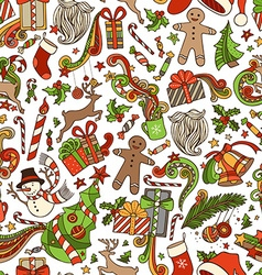 Seamless Cartoon Christmas Pattern vector image
