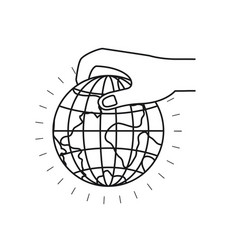 Silhouette side view of hand holding a earth globe vector