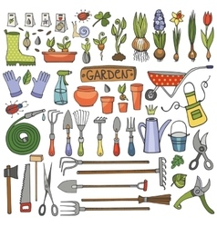 Spring garden doodle setcolored toolsplants vector