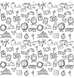 travel doodle seamless pattern background vector image vector image