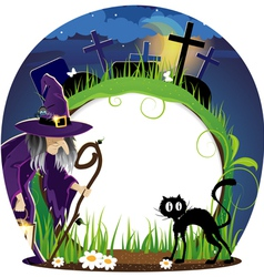 Witch and cat on a cemetery vector image