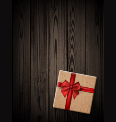 wooden new year background with gift vector image