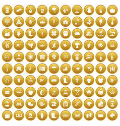 100 farm icons set gold vector