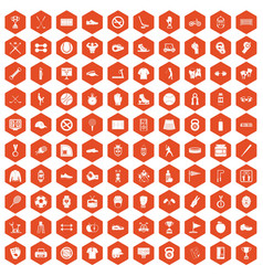 100 sport equipment icons hexagon orange vector