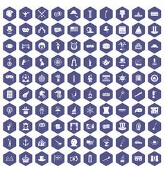 100 top hat icons hexagon purple vector