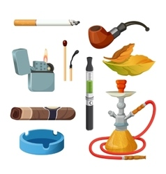 Cigarettes cigars hookahs tobacco leaves vector