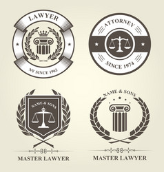 Attorney and lawyer bureau emblems and badges vector