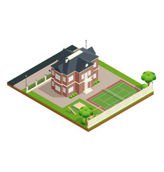 Suburb house isometric composition vector