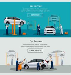 Car repair service flat horizontal banner vector
