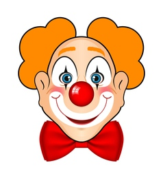 Smiling clown with red bow vector