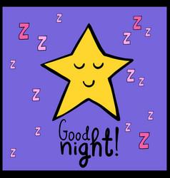 Cartoon yellow smiling star good night vector