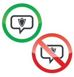 Shield message permission signs vector