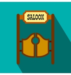 Old western swinging saloon doors flat icon vector