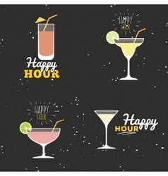 Happy hour labels vector