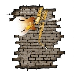 Guitar and saxophone in the brick wall vector