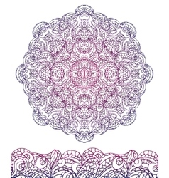 Abstract ethnic mandala seamless borderoutline vector