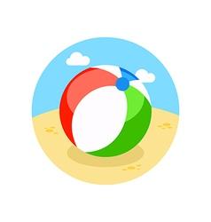 Beach ball icon summer vacation vector