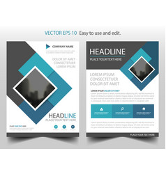 Blue square business brochure leaflet flyer vector