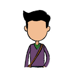 boy cartoon student young character with bag vector image vector image