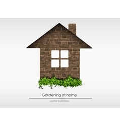 Brick house with grass vector