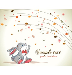 Bunny with floral background vector