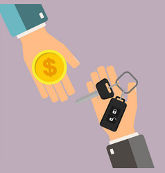 Car rental or sale concept hand of agent hold car vector