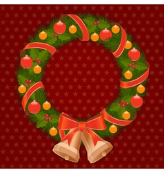 christmas wreath 1 vector image