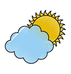 Cluod with sun weather icon vector