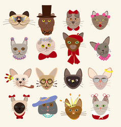 Colored cute cats heads set vector