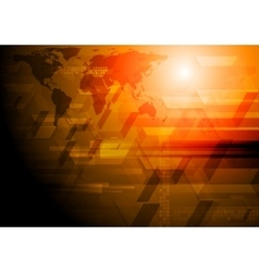 Dark tech background with world map vector image