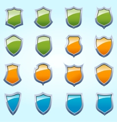 Glossy shield pack vector