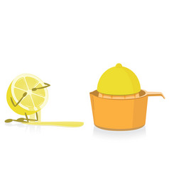 Half lemon crying over squeezed half lemon vector