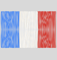 Hand drawn french flag vector
