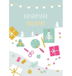 Handmade holidays card tools crafts and vector