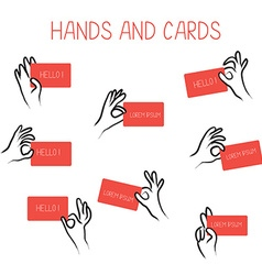 Hands holding cards for advertising set vector image