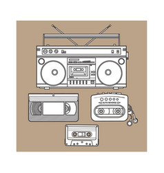 retro audio cassette tape recorder music player vector image