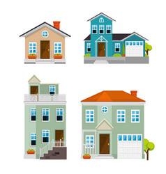 Set houses buildings in flat style design vector