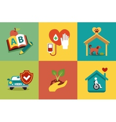 Set of modern icons in style flat on social issues vector image vector image