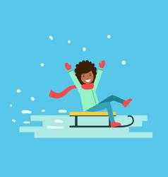 smiling girl enjoying a sleigh ride winter vector image vector image