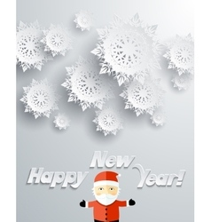 Snowflakes Background Santa Claus Happy New Year vector image vector image