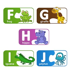 Stickers alphabet animals from f to j vector
