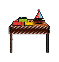 Table wooden with toys vector
