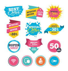 wifi and chat bubbles add user megaphone vector image