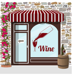 Wine shop building vector